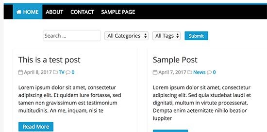 wordpress add static shortcode above blog on home
